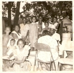 Peeling apples under the pecan tree. Joyce, Maurice, Mama Ella, KooKoo, JoEtta,Butch, Gwen Jerri, Faye  and Mike